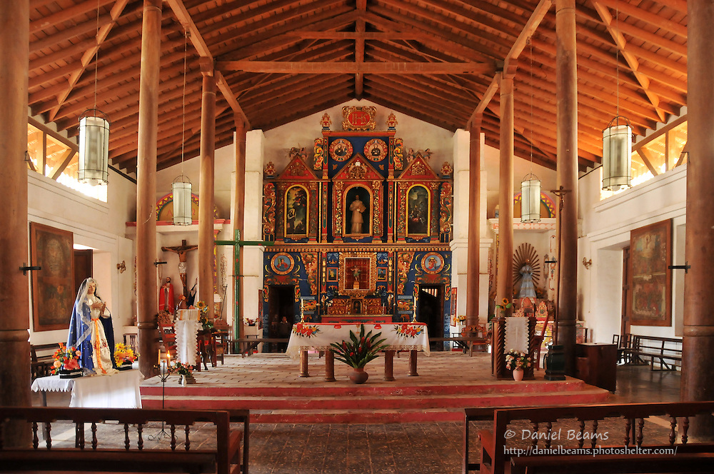 Interior of catholic church, San Ignacio de Moxos, Beni, Bolivia