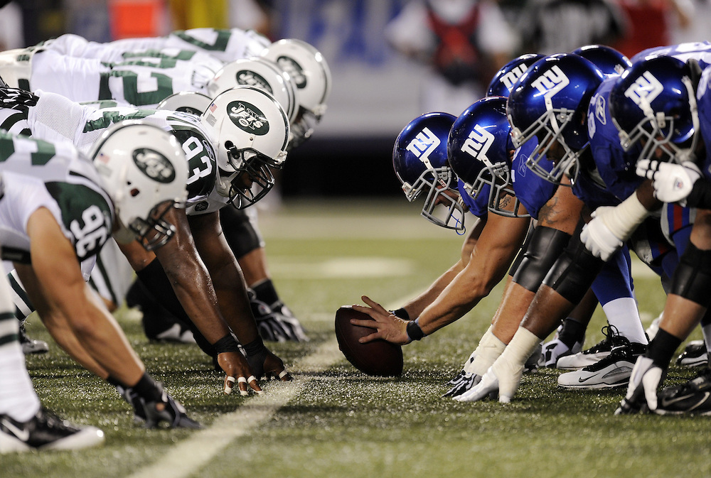 EAST RUTHERFORD, NJ - AUGUST 29: A general view on the line of scrimmage before the snap during a preseason game between the  the New York Jets and the New York Giants at Giants Stadium on August 29, 2009 in East Rutherford, New Jersey. The New York Jets beat the New York Giants 27-25. (Photo by Rob Tringali) *** Local Caption ***