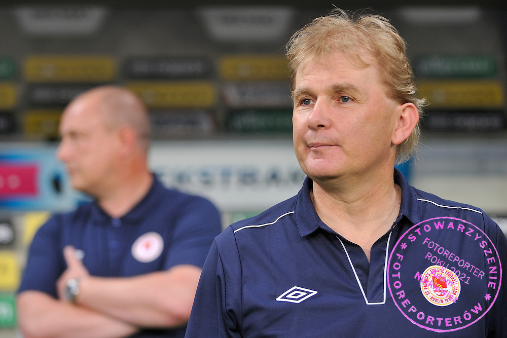 Liam Buckley trainer coach of St Patrick's during Second qualifying round UEFA Champions League soccer match between Legia Warsaw and St. Patrick's Athletic at Pepsi Arena in Warsaw, Poland.<br /> <br /> Poland, Warsaw, July 16, 2014<br /> <br /> Picture also available in RAW (NEF) or TIFF format on special request.<br /> <br /> For editorial use only. Any commercial or promotional use requires permission.<br /> <br /> Mandatory credit:<br /> Photo by &copy; Adam Nurkiewicz / Mediasport