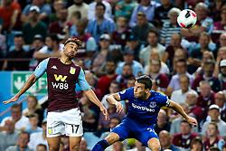 Mahmoud Hassan of Aston Villa challenges Seamus Coleman of Everton - Mandatory by-line: Robbie Stephenson/JMP - 23/08/2019 - FOOTBALL - Villa Park - Birmingham, England - Aston Villa v Everton - Premier League