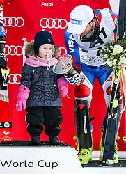 26.01.2016, Planai, Schladming, AUT, FIS Weltcup Ski Alpin, Schladming, Slalom, Herren, Siegerehrung, im Bild Alexander Khoroshilov (RUS, 3. Platz) und Tochter Anna // 3rd placed Alexander Khoroshilov (RUS) with Daughter Anna celebrate on Podium during the winner award ceremony of men's Slalom Race of Schladming FIS Ski Alpine World Cup at the Planai in Schladming, Austria on 2016/01/26. EXPA Pictures © 2016, PhotoCredit: EXPA/ Johann Groder