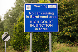 A road sign informing driver not to stop in the Burntwood area of Litchfield