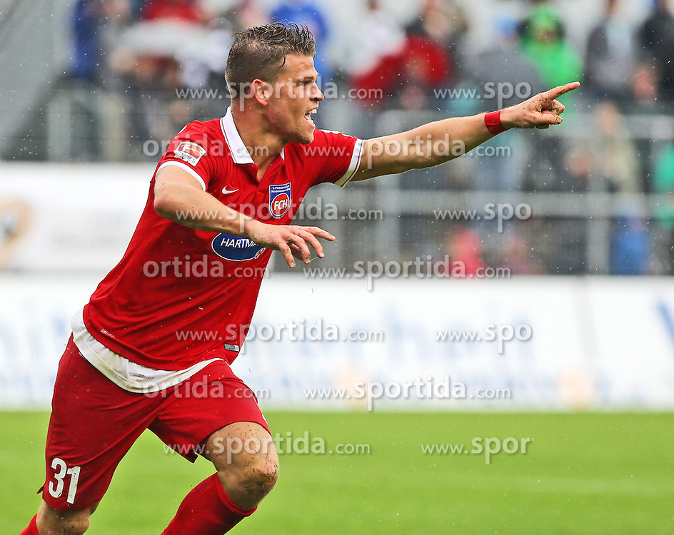 03.05.2015, Hardtwald, Sandhausen, GER, 2. FBL, SV Sandhausen vs 1. FC Heidenheim, 31. Runde, im Bild Florian Niederlechner (1.FC Heidenheim 1846 e.V.) bejubelt seinen Treffer zum 0-1 // during the 2nd German Bundesliga 31th round match between SV Sandhausen and 1. FC Heidenheim at the Hardtwald in Sandhausen, Germany on 2015/05/03. EXPA Pictures &copy; 2015, PhotoCredit: EXPA/ Eibner-Pressefoto/ Bermel<br /> <br /> *****ATTENTION - OUT of GER*****