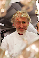 Chef Pierre Gagnaire in the kitchen of his three star Paris restaurant-2005 - photo by Owen Franken for the NY Times...