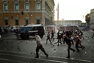 ITALY, Rome, October 15, 2011: Police officers clash with protesters during a demonstration in Rome on October 15, 2011. © Christian Minelli/Emblema.
