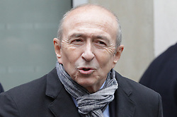 © Licensed to London News Pictures . 07/05/2017 . Paris , France . Gerard Collomb outside the office of En Marche . The electorate are voting in the final round of the French election . Emmanuel Macron's En Marche and Marine Le Pen's Front National are competing for the Presidency . Photo credit: Joel Goodman/LNP