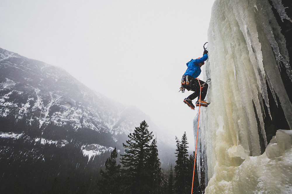 Sam Magro taps his way up The Good Looking One, WI-5, Hyalite Canyon, Montana.