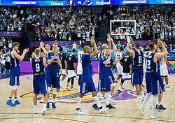 Players of Finland celebrate after winning during basketball match between National Teams of France and Finland at Day 1 of the FIBA EuroBasket 2017 at Hartwall Arena in Helsinki, Finland on August 31, 2017. Photo by Vid Ponikvar / Sportida
