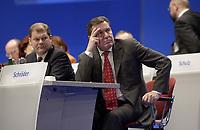 16 NOV 2003, BOCHUM/GERMANY:<br /> Olaf Scholz (L), SPD Generalsekretaer, und Gerhard Schroeder (R), SPD, Bundeskanzler, SPD Europadelegiertenkoferenz, Ruhr-Congress-Zentrum<br /> IMAGE: 20031116-01-003<br /> KEYWORDS: Parteitag, party congress, gerhard Schröder
