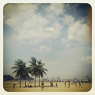 April 2013. Rio de Janeiro; Brazil. Copacabana beach. People playing beach soccer.