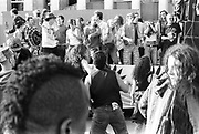 Ravers dancing on truck, 1st Criminal Justice March, Trafalgar Square, London, UK, 1st of May 1994.