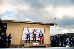 February 22, 2019 - Seefeld In Tirol, AUSTRIA - 190222 Silver medalist Jan Schmid of Norway, gold medalist Eric Frenzel of Germany and bronze medalist Franz-Josef Rehrl of Austria on the podium after the men's nordic combined 10 km Individual Gundersen during the FIS Nordic World Ski Championships on February 22, 2019 in Seefeld in Tirol..Photo: Joel Marklund / BILDBYRÃ…N / kod JM / 87882 (Credit Image: © Joel Marklund/Bildbyran via ZUMA Press)