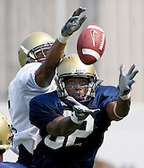 Atlanta, GA: Jahi Word- Daniels reaches for an interception during  football practice at  Georgia Tech on Monday,8/6/07. ©2007 Johnny Crawford