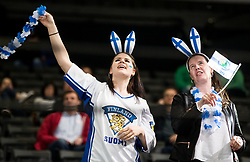 Supporters of Finland during the 2017 IIHF Men's World Championship group B Ice hockey match between National Teams of Finland and Slovenia, on May 10, 2017 in AccorHotels Arena in Paris, France. Photo by Vid Ponikvar / Sportida