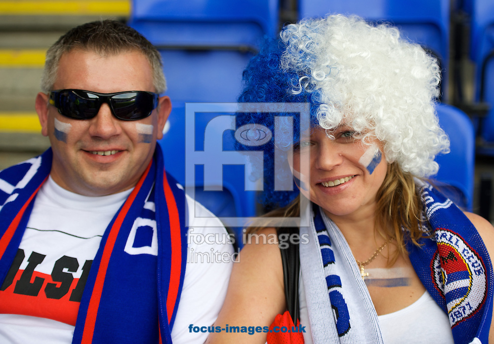 Two Reading fans before the Sky Bet Championship match at the Madejski Stadium, Reading<br /> Picture by Alan Stanford/Focus Images Ltd +44 7915 056117<br /> 28/09/2014