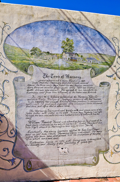 Mural describing the history of Harmony, California USA