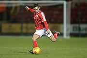 Harry Pickering  shoots on goal during the EFL Sky Bet League 2 match between Crewe Alexandra and Exeter City at Alexandra Stadium, Crewe, England on 20 February 2018. Picture by Graham Holt.