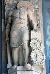 Old stone sculpture at Tacheles art workshop space on Oranienburger Strasse in Berlin Germany