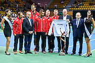 Special event of Polish Tennis Association president (L) Jacek Muzolf thanks to (C) Ryszard Krauze former main sponsor of  Polish Tennis Association during Davis Cup Tie World Group Play-off Poland v Slovakia at Gdynia Arena Hall in Gdynia, Poland.<br /> (L-R) Radoslaw Szymanik - captain national team and Major and Jerzy Janowicz and Michal Przysiezny and Grzegorz Panfil and Kamil Gajewski and Ryszard Krauze and Wojciech Szczurek mayor of Gdansk Jacek Muzolf all from Poland.<br /> <br /> Poland, Gdynia, September 19, 2015<br /> <br /> Picture also available in RAW (NEF) or TIFF format on special request.<br /> <br /> For editorial use only. Any commercial or promotional use requires permission.<br /> <br /> Adam Nurkiewicz declares that he has no rights to the image of people at the photographs of his authorship.<br /> <br /> Mandatory credit:<br /> Photo by © Adam Nurkiewicz / Mediasport