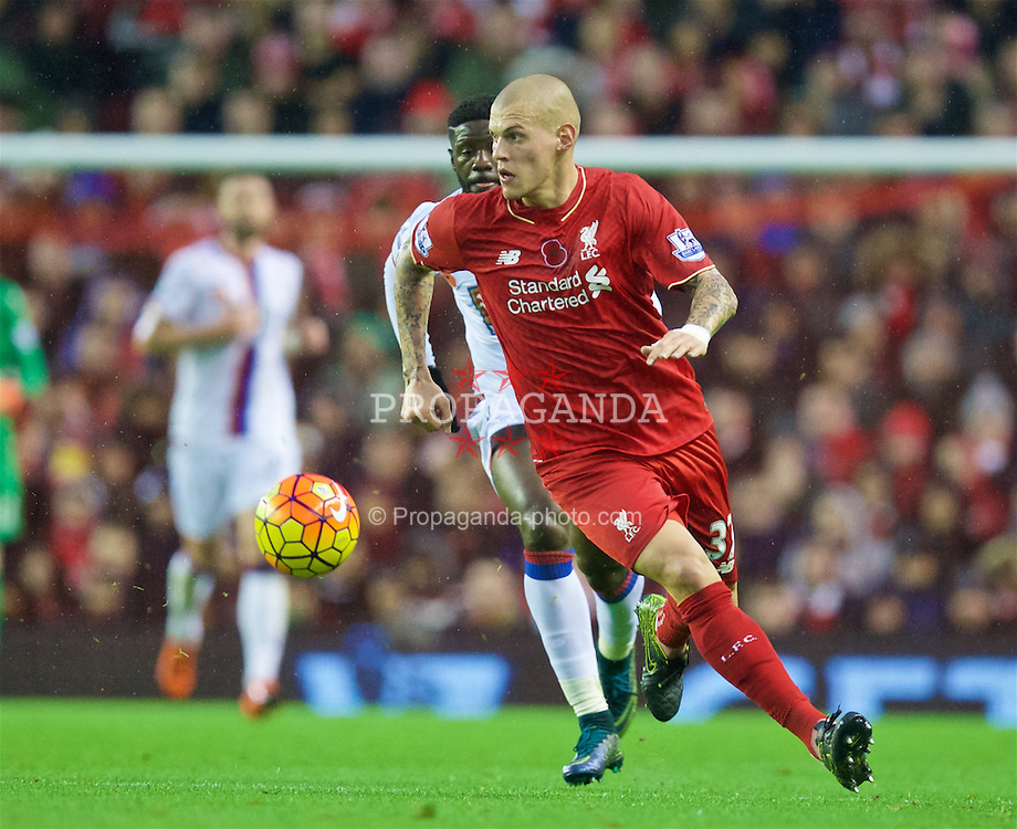 LIVERPOOL, ENGLAND - Sunday, November 8, 2015: Liverpool's Martin Skrtel in action against Crystal Palace during the Premier League match at Anfield. (Pic by David Rawcliffe/Propaganda)