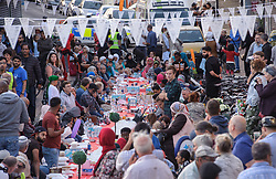 © Licensed to London News Pictures.  22/06/2017; Bristol, UK. 'The Big Iftar 2017' in St Marks Road, Easton, Bristol, marking the end of the muslim holy month of Ramadan when muslims fast from dawn until sunset. It is believed this is the first time in the UK that the event includes a meal held in the street and shared with all communities including non-muslims. It is hosted by Easton Jamia Masjid with partners including Bristol4Muslims, we care foundation, Karam Kitchen, and aims to bring people from different backgrounds and cultures together to share good food and learn from each other. Ramadan is a month of sharing, hospitality, charity giving and creating new friendships, and the Big Iftar is a great way of achieving these goals while breaking down barriers that may exist within communities. Visitors were also given a grand tour to the newely refurbished mosque located in the heart of Easton. Picture credit : Simon Chapman/LNP