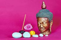 Thailande, Bangkok, Statue de Bouddha, tête de Bouddha // Thailand, Bangkok, Statue of Buddha, Head of Buddha
