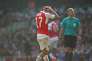 Arsenal forward, Alexis Sanchez (17) after loss during the The FA Cup Quarter Final match between Arsenal and Watford at the Emirates Stadium, London, England on 13 March 2016. Photo by Matthew Redman.
