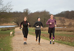© Licensed to London News Pictures. 21/12/2014. A group of runners in an early morning at Richmond park, west London. Today, 21st December, also known as Winter Solstice, is the shortest day in the year. Photo credit : Isabel Infantes / LNP