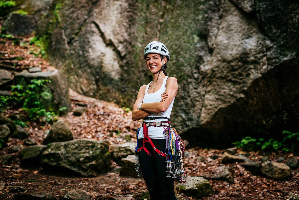 Alissa preclimb at Catherdal Ledges in North Conway NH