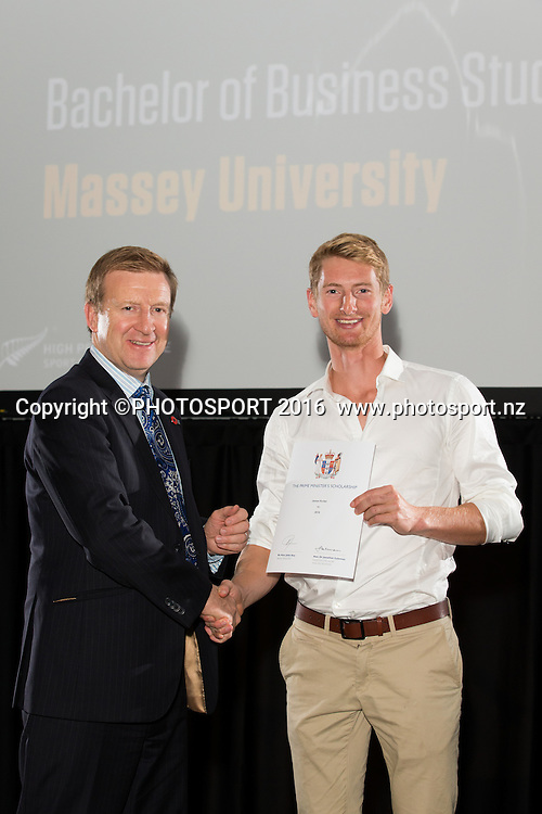 Hon. Jonathan Coleman presents certificate to Rowing James Hunter at the High Performance Sport NZ Waikato ceremony for the Prime Minister's Scholarship Awards, at Sir Don Rowlands Centre, Lake Karapiro, Cambridge, New Zealand, 20 April 2016. Copyright Photo: Stephen Barker / www.photosport.nz
