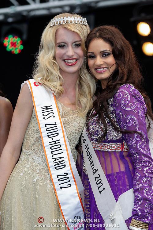 NLD/Rotterdam/20120615 - Verkiezing Miss Zuid-Holland 2012, deelneemster en winnares Wendy-Kristy Hoogerbrugge wod gekroond door Sushma Paladsingh Miss Zuid-Holland 2011