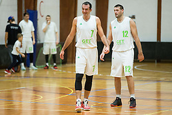 Jasmin Hukic and Goran Jagodnik of Ilirija during basketball match between KD Ilirija and KK Celje in 2. SKL za moske 2016/17, on November 25, 2016 in Ljubljanski grad, Ljubljana, Slovenia. Photo by Vid Ponikvar / Sportida
