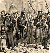 Thomas Bilney (c1495-1531) English martyr, on his way to the be burned at the stake at Bishopsgate, London, having been condemned to death for heresy. Engraving from 'Our Own Magazine' London, 1881.