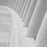Black and white photograph of a detail in the City of Arts and Sciences in Valencia, Spain. Designed by architects Santiago Calatrava and Felix Candela.