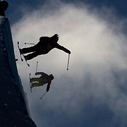 Competitors practice before competition in the Halfpipe Finals during The North Face Freeski Open at Snow Park, Wanaka, New Zealand, 3rd September 2011. Photo Tim Clayton...
