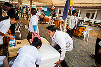 Medical equipment and vaccines are prepared for the Japanese Encephalities campaign in Xieng Khuoang province, Laos.