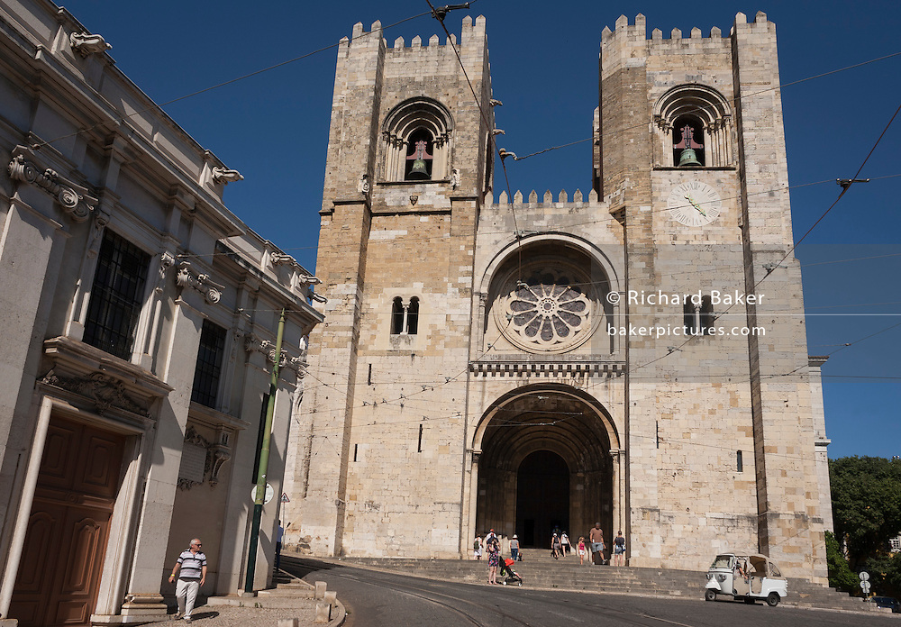 Exterior of the Se Cathedral in Lisbon, Portugal.