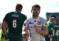 Dave Lewis (Exeter) rallies his team-mates during a break in play - Photo mandatory by-line: Patrick Khachfe/JMP - Tel: Mobile: 07966 386802 23/03/2014 - SPORT - RUGBY UNION - Welford Road, Leicester - Leicester Tigers v Exeter Chiefs - Aviva Premiership.