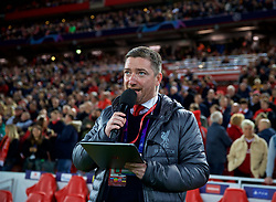 LIVERPOOL, ENGLAND - Wednesday, October 24, 2018: Liverpool's team announcer Peter McDowell before the UEFA Champions League Group C match between Liverpool FC and FK Crvena zvezda (Red Star Belgrade) at Anfield. (Pic by David Rawcliffe/Propaganda)