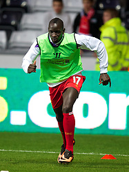 SWANSEA, WALES - Monday, September 16, 2013: Liverpool's Mamadou Sakho warms-up before the Premiership match against Swansea City at the Liberty Stadium. (Pic by David Rawcliffe/Propaganda)