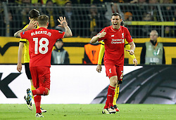 James Milner and Alberto Moreno of Liverpool celebrate their sides opening goal - Mandatory by-line: Robbie Stephenson/JMP - 07/04/2016 - FOOTBALL - Signal Iduna Park - Dortmund,  - Borussia Dortmund v Liverpool - UEFA Europa League Quarter Finals First Leg
