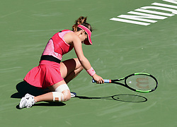 March 8, 2019 - Indian Wells, CA, U.S. - INDIAN WELLS, CA - MARCH 08: Lauren Davis (USA) stumbles after hitting the ball during a match at the BNP Paribas Open played at the Indian Wells Tennis Garden in Indian Wells, CA. (Photo by John Cordes/Icon Sportswire) (Credit Image: © John Cordes/Icon SMI via ZUMA Press)