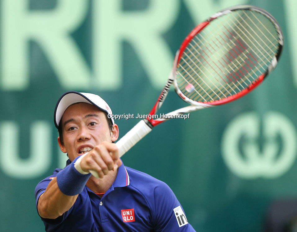 Gerry Weber Open 201, ATP World Tour, Rasentennis Turnier, International Series,Gerry Weber Stadion,Rasenplatz, Halle/Westfalen,<br /> Kei Nishikori (JPN),Aktion,Einzelbild,Halbkoerper,Querformat,