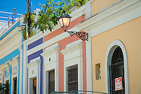 Street lamp and colorful colonial buildings