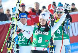 12.01.2013, Karl Schranz Abfahrt, St. Anton, AUT, FIS Weltcup Ski Alpin, Abfahrt, Damen, Podium, im Bild Anna Fenninger (AUT, Platz 3) // 3th place Anna Fenninger of Austria celebrate on Podium during ladies Downhill of the FIS Ski Alpine World Cup at the Karl Schranz course, St. Anton, Austria on 2013/01/12. EXPA Pictures © 2013, PhotoCredit: EXPA/ Spiess
