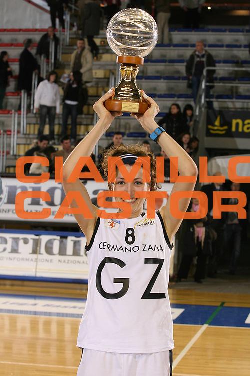 DESCRIZIONE : Taranto Coppa Italia Femminile 2006-07 Finale Germano Zama Faenza Phard Napoli <br /> GIOCATORE : Ballardini Mvp <br /> SQUADRA : Germano Zama Faenza <br /> EVENTO : Coppa Italia Femminile 2006-2007 <br /> GARA : Germano Zama Faenza Phard Napoli <br /> DATA : 15/02/2007 <br /> CATEGORIA : Esultanza <br /> SPORT : Pallacanestro <br /> AUTORE : Agenzia Ciamillo-Castoria/G.Ciamillo
