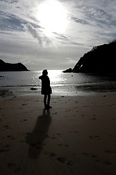 UK ENGLAND FOWEY 20FEB15 - Writer Tatiana De Rosnay walks on the beach at Readymoney Cove in Fowey, Cornwall, England. Fowey, a small fishing and harbour village was the living place of famous English writer Daphne Du Maurier and many of her novels are based here.<br /> <br /> jre/Photo by Jiri Rezac<br /> <br /> © Jiri Rezac 2015