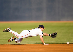 Virginia Cavaliers INF Greg Miclat (2) dives for a ground ball.  The #16 ranked Virginia Cavaliers baseball team defeated the Wake Forest Demon Decons 4-2 at the University of Virginia's Davenport Field in Charlottesville, VA on April 18, 2008.