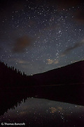 Thousands of stars were visible above Lake Janus and reflected in the mirror flat water.  It was an inspiring and invigorating sight.  I stood watching for a long time in awe.