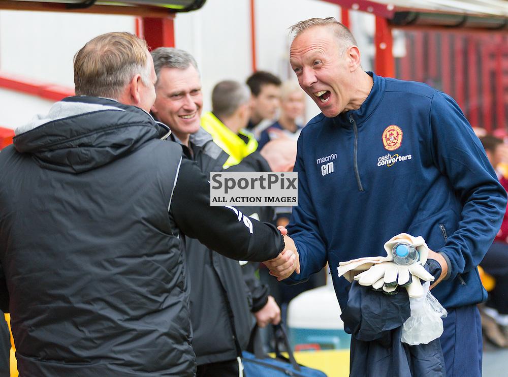 Motherwell v Inverness Caledonian Thistle Scottish Premiership 16 August 2014; John Hughes and Gordon Marshall before the Motherwell v Inverness Caledonian Thistle Scottish Premiership match played at Fir Park Stadium, Motherwell;